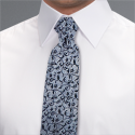Silver Romford Floral Tie - Available From 18th April 2018 Tie